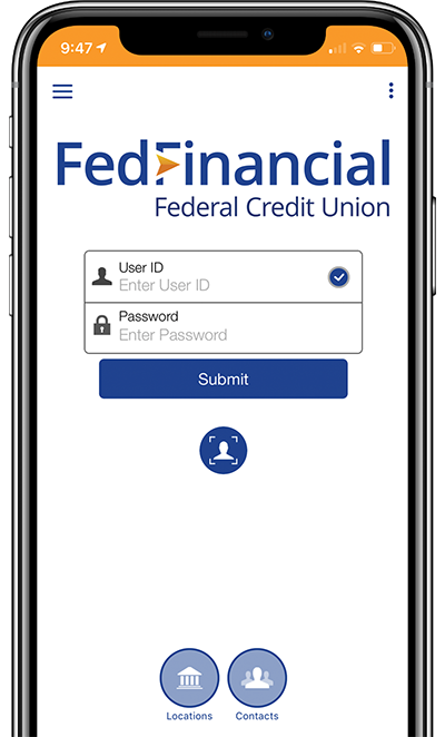 Screenshot of Fed Financial login interface on iphone